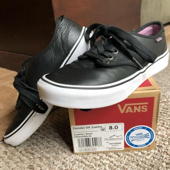 f7beff48eddbff Van s Camden DX black leather Women s low top shoe.  M 5ac16605d39ca2bf337a8351